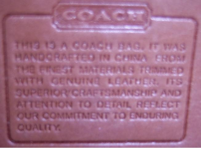 The Image On Left Is A Label Inside Real Coach Handbag