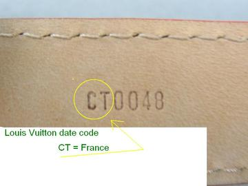 Louis Vuitton belt date code